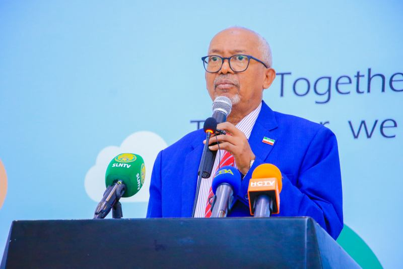 Vice President of the Republic of Somaliland Abdirahman Abdilahi Ismail Saylici speaking at the ceremony