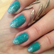 nails of week teal and glitter