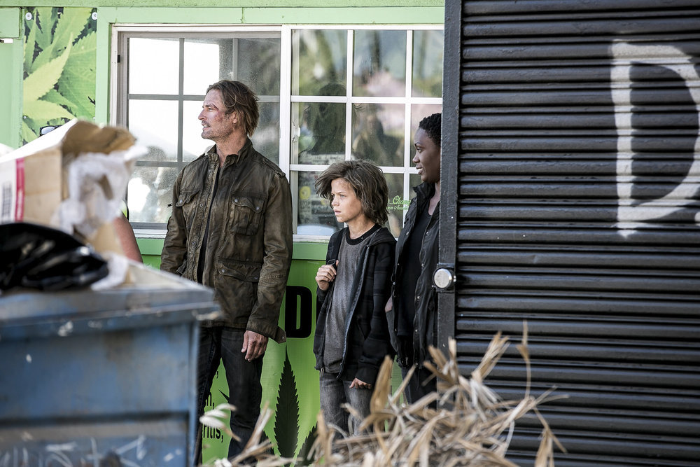 "COLONY -- ""Sublimation"" Episode 203 -- Pictured: (l-r) Josh Holloway as Will Bowman, Jacob Buster as Charlie Bowman, Carolyn Michelle Smith as Devon -- (Photo by: Isabella Vosmikova/USA Network)"