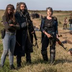 Michonne (Danai Gurira), Ezekiel (Khary Payton) and Carol Peletier (Melissa McBride) in Episode 16 of The Walking Dead season 8 Photo by Gene Page/AMC