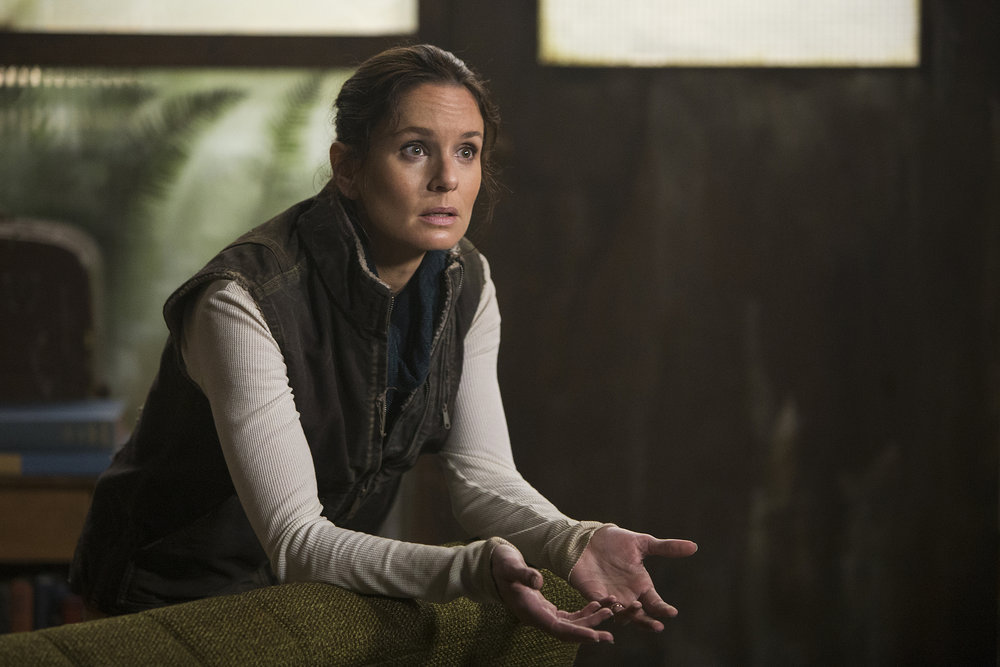 "COLONY -- ""Mixed Signals"" Episode 303 -- Pictured: Sarah Wayne Callies as Katie Bowman -- (Photo by: James Dittinger/USA Network)"
