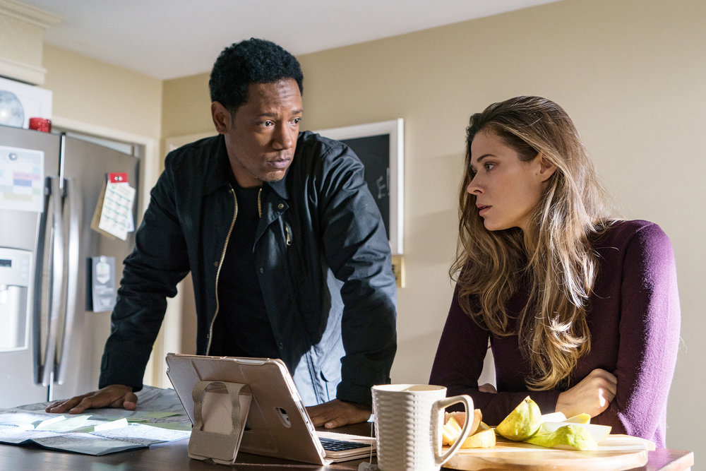 """COLONY -- """"Lazarus"""" Episode 308 -- Pictured: (l-r) Tory Kittles as Broussard, Peyton List as Amy Leonard -- (Photo by: Daniel Power/USA Network)"""