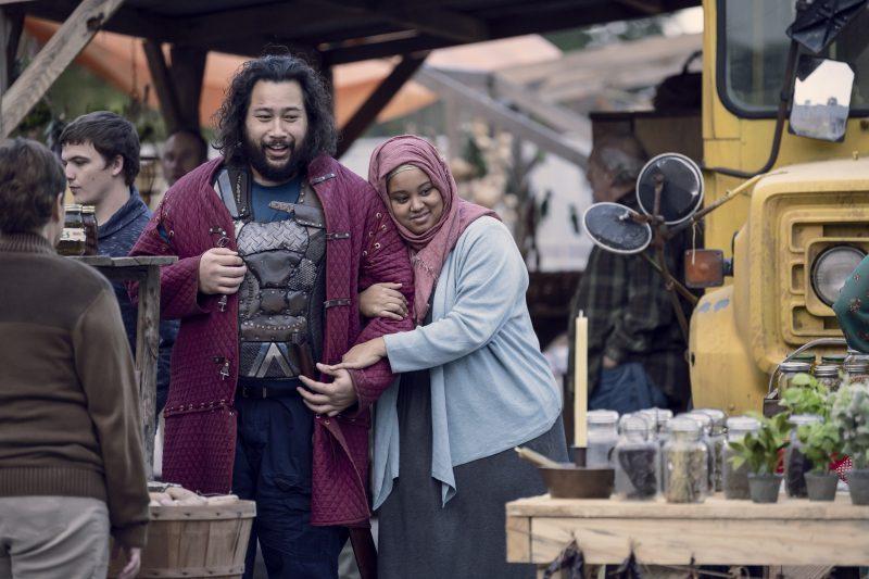Cooper Andrews as Jerry Nadine Marissa as Nabila- The Walking Dead _ Season 9, Episode 15 - Photo Credit: Gene Page/AMC