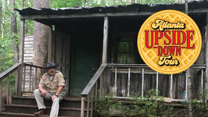Atlanta Movie Tours guide Colin Cary pictured at Sleepy Hollow Farm on the Atlanta Upside Down Tour showcasing locations from Netflix original Stranger Things photo credit: Tracey Phillipps