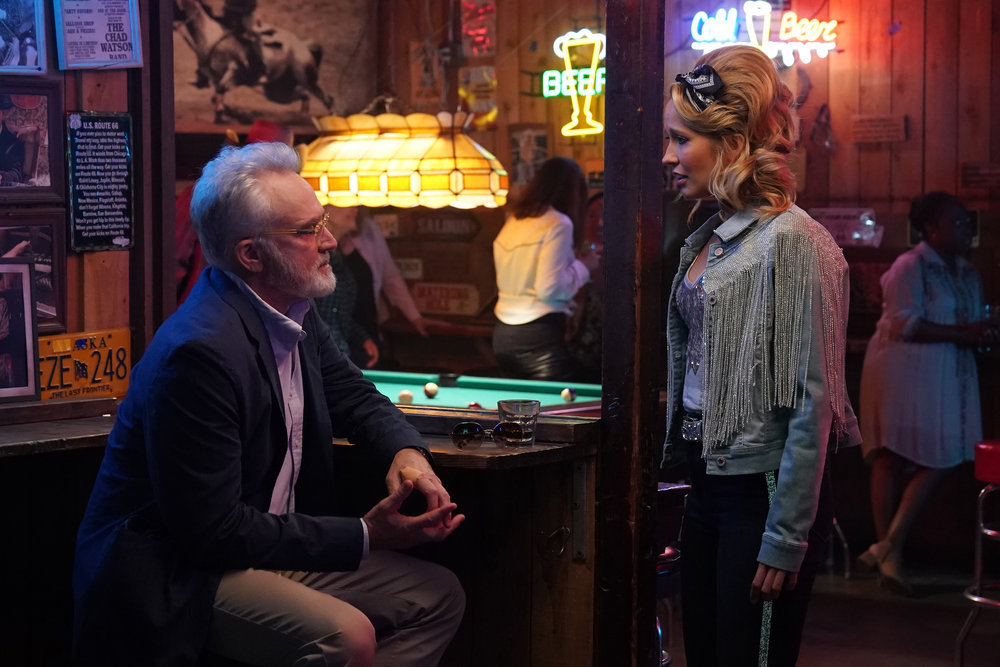 "PERFECT HARMONY -- ""No Time For Losers"" Episode 102 -- Pictured: (l-r) Bradley Whitford as Arthur Cochran, Anna Camp as Ginny -- (Photo by: Tyler Golden/NBC)"