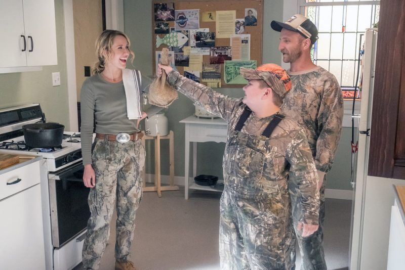 """PERFECT HARMONY -- """"Hunting Season"""" Episode 104 -- Pictured: (l-r) Anna Camp as Ginny, Will Greenberg as Wayne, Spencer Allport as Cash -- (Photo by: Ron Batzdorff/NBC)"""