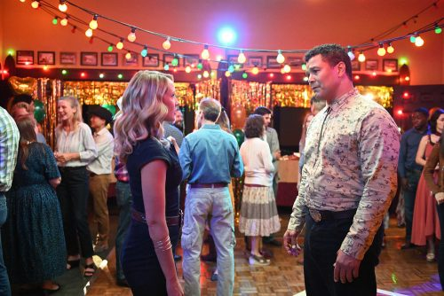 """PERFECT HARMONY -- """"It's Electric"""" Episode 105 -- Pictured: (l-r) Anna Camp as Ginny, Geno Segers as Shep Rollins -- (Photo by: Mitchell Haddad/NBC)"""
