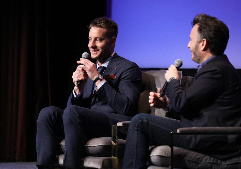 """ATLANTA, GEORGIA - FEBRUARY 29: Justin Hartley and JD Heyman speak onstage at the SCAD aTVfest 2020 - """"This Is Us"""" With Justin Hartley Spotlight Award Presentation on February 29, 2020 in Atlanta, Georgia. (Photo by Cindy Ord/Getty Images for SCAD aTVfest 2020)"""