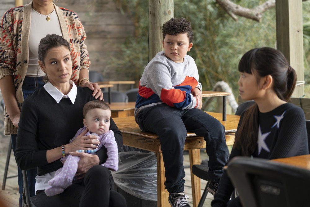 """COUNCIL OF DADS -- """"Who Do You 'Wanna' Be?"""" Episode 103 -- Pictured: (l-r) Sarah Wayne Callies as Robin Perry, Baby Hope, Blue Chapman as JJ Perry, Thalia Tran as Charlotte Perry -- (Photo by: Seth F. Johnson/NBC)"""