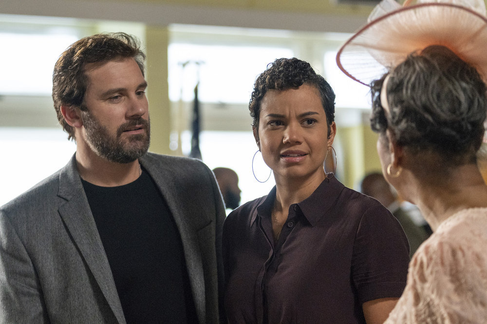 "COUNCIL OF DADS -- ""The Best Laid Plans"" Episode 107 -- Pictured: (l-r) Clive Standen as Anthony Lavelle, Michele Weaver as Luly Perry -- (Photo by: Seth F. Johnson/NBC)"