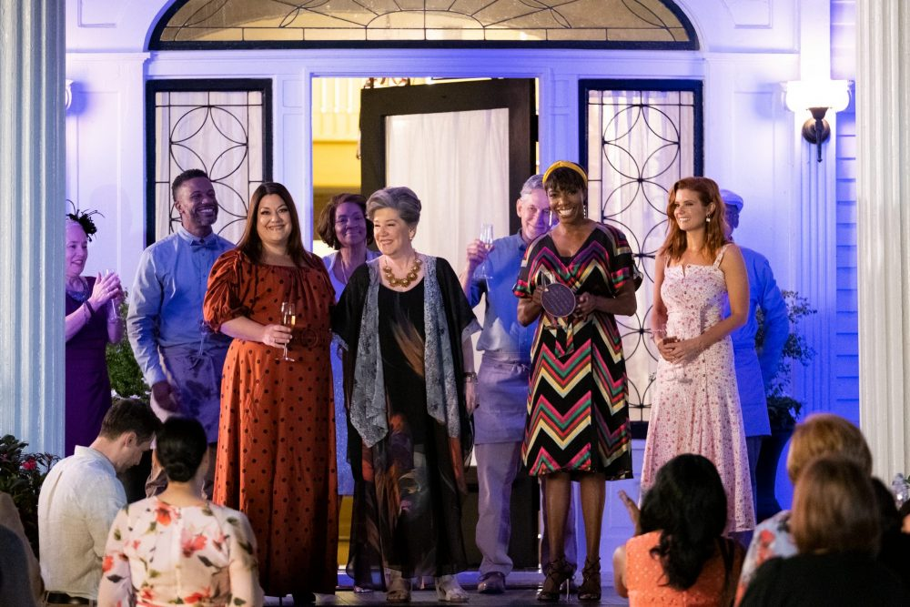 SWEET MAGNOLIAS (L TO R) BROOKE ELLIOTT as DANA SUE, CINDY KARR as FRANCES WINGATE, HEATHER HEADLEY as HELEN DECATUR, and JOANNA GARCIA SWISHER as MADDIE TOWNSEND in episode 105 of SWEET MAGNOLIAS Cr. ELIZA MORSE/NETFLIX © 2020