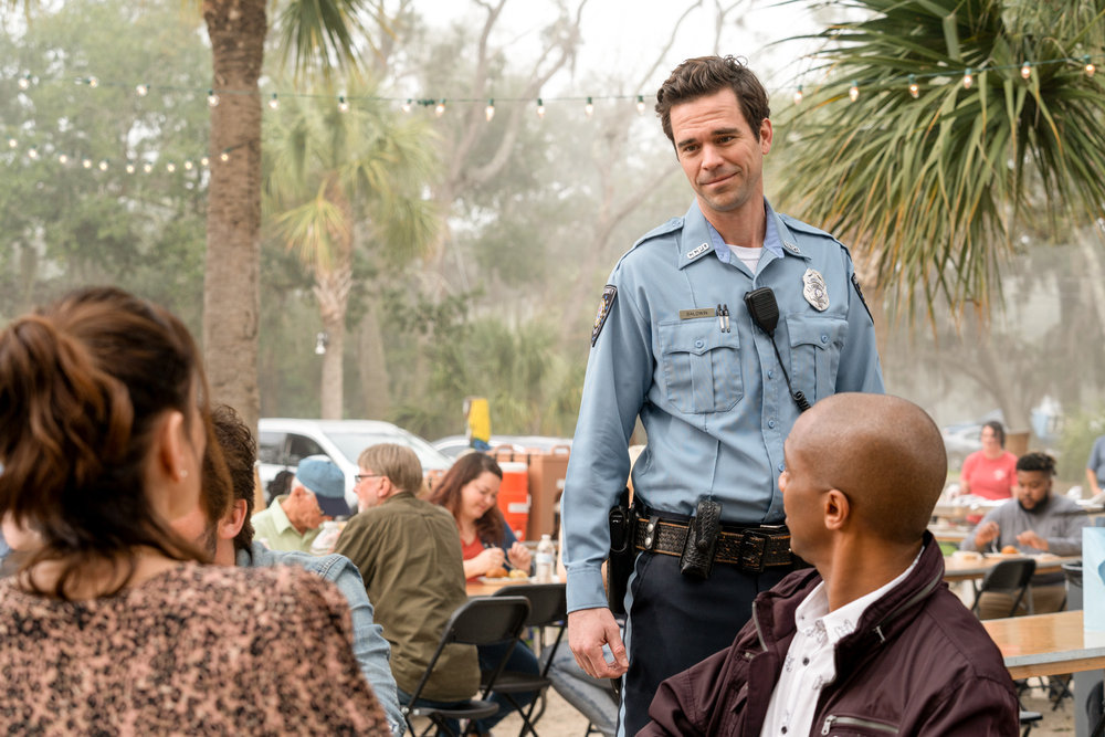 """COUNCIL OF DADS -- """"Fight Or Flight"""" Episode 110 -- Pictured: (l-r) Sarah Wayne Callies as Robin Perry, David Walton as Sam, J. August Richards as Dr. Oliver Post -- (Photo by: Seth F. Johnson/NBC)"""