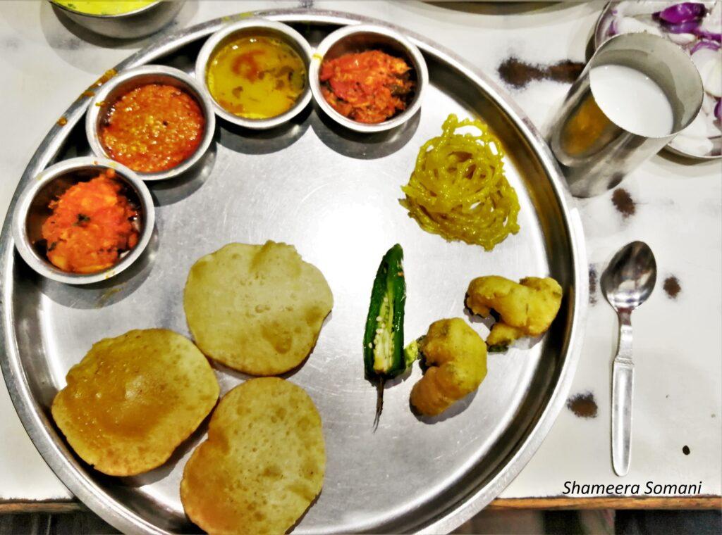 Gujarati Thali at Osho Dining Hall, Mandvi