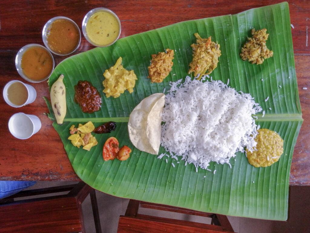 Traditional Kerala Meal on Banana Leaf