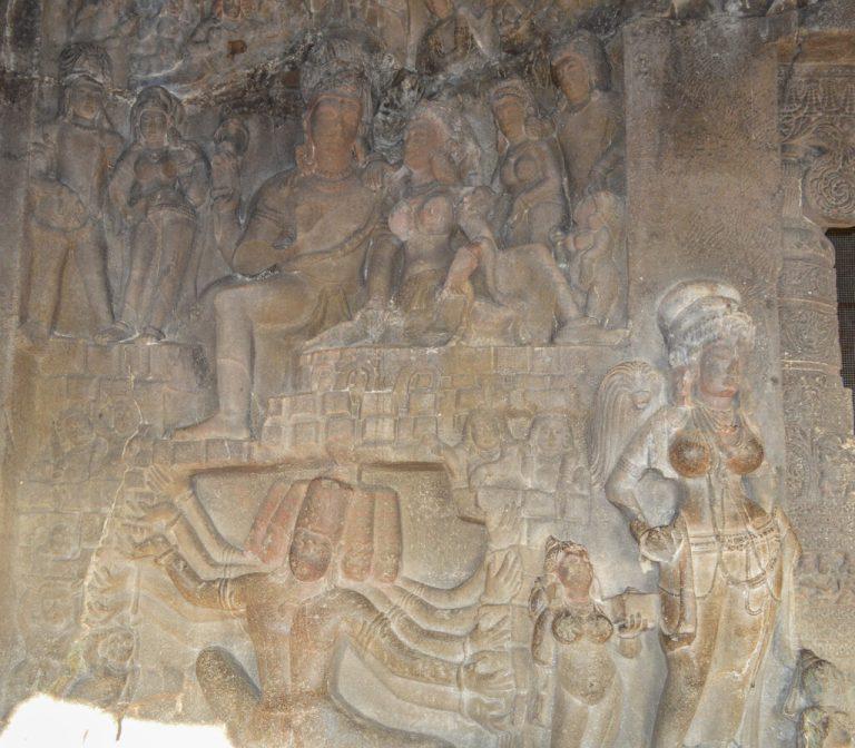 Shiva-Paravati-as-Ravana-shakes-Mount-Kailas.-Cave-29