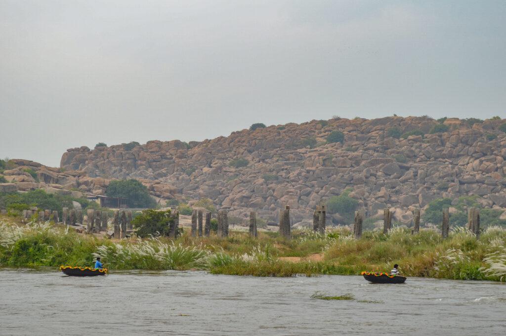 Coracles on Thungabadra River, Hampi