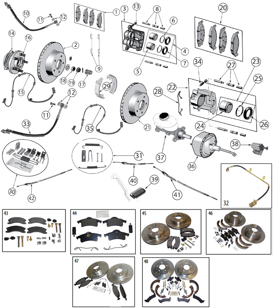 Diagrams For Jeep :: Brake Parts :: Jeep Grand Cherokee WJ