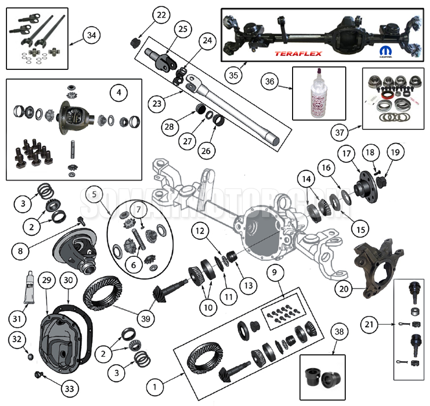 Diagrams :: Axle Parts :: Front Axle Diagram for Dana 30