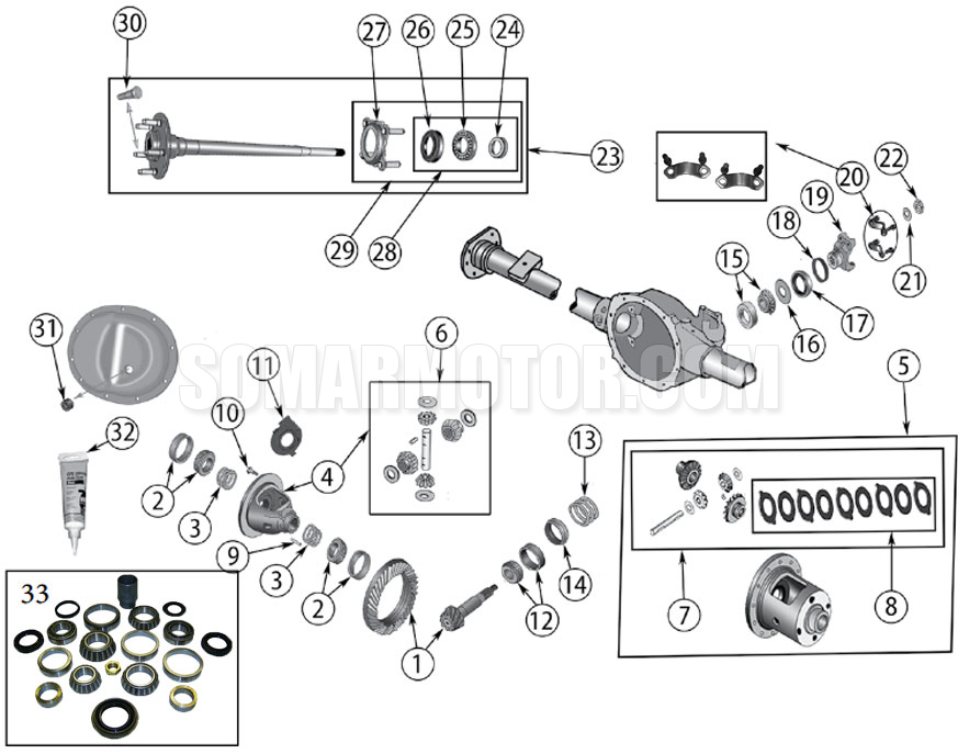 Rear Axle Diagram for Dana 44 Grand Cherokee WJ (1999-2004)