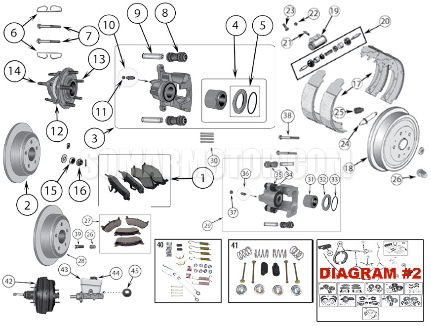 Brake Diagram for Jeep Wrangler TJ (1997-2006)