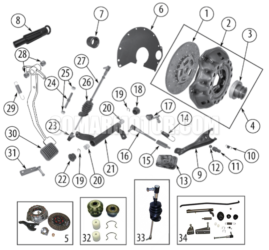 Clutch Diagram for Vintage W- V8-304, V8-360, V8-401 Engines