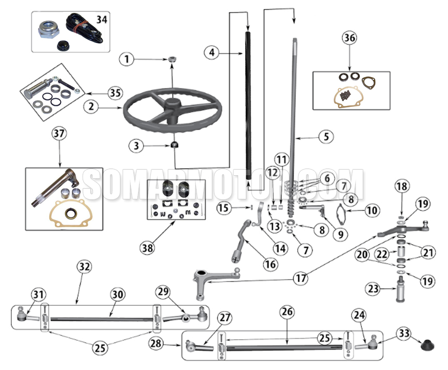 Steering Diagram for Jeep Willys (1941-1971)