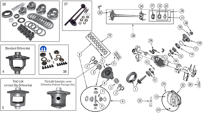 Diagrams For Jeep :: Axle & Differential :: Model 44 Rear