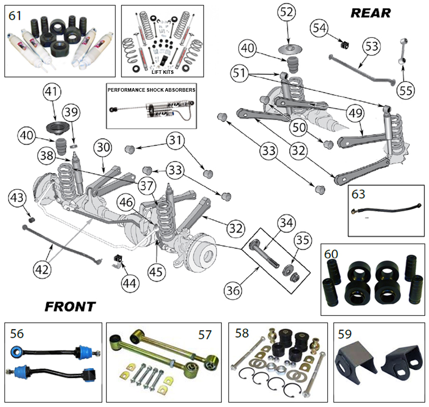 Diagrams For Jeep :: Suspension Parts :: Wrangler TJ (1997