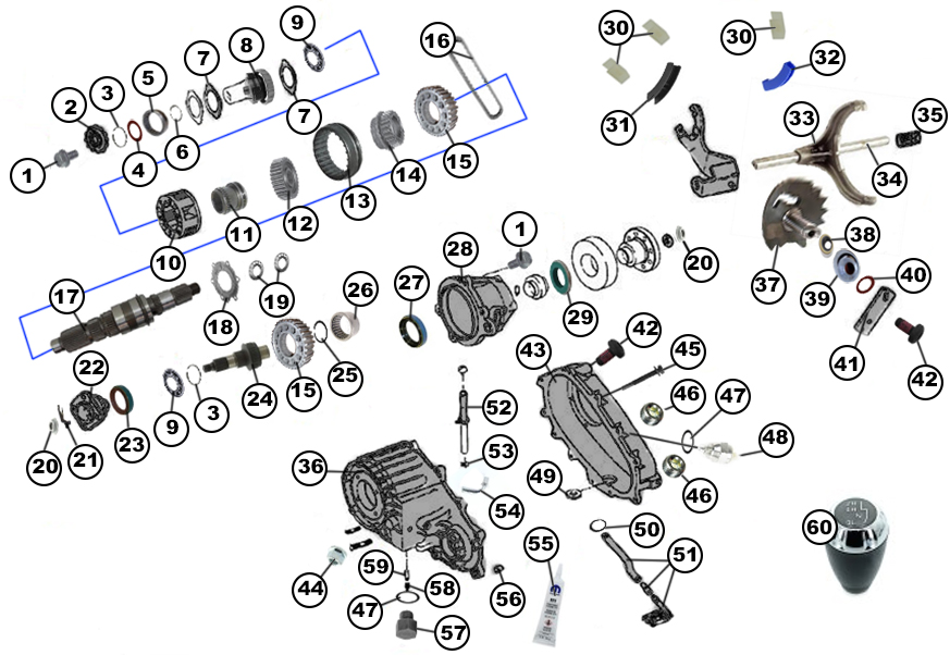 Diagrams For Jeep :: Transfer Parts :: Transfer Case