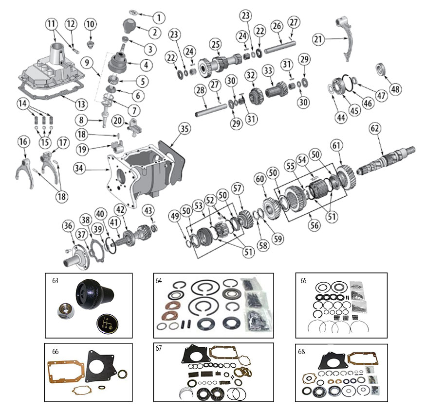 Transmission Diagram for T176 & T177 Tremec 4-Speed