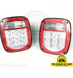 diagrams for jeep lamps light systems jeep cj lights tail lamp led w clear lens jeep cj s 1975 1985 jeep wrangler yj 1987 1995 left right  [ 1500 x 1500 Pixel ]