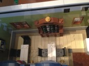 Inside of cafe with wine rack