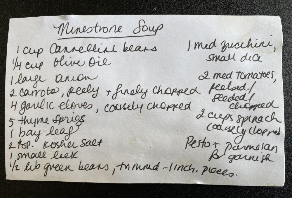 Gluten Free Minestrone Soup Recipe Card