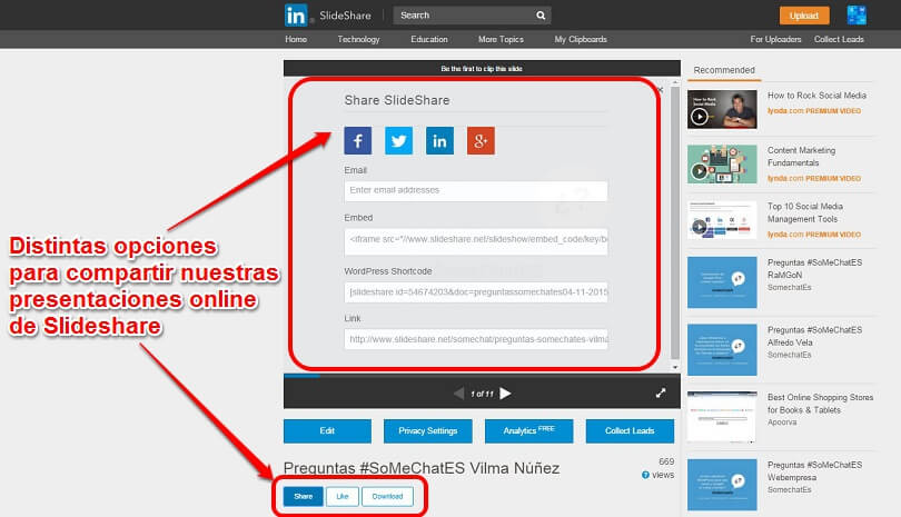 Presentaciones online SoMeChatES compartir Slideshare