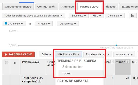 Utilizar Adwords Informe técnico de búsqueda