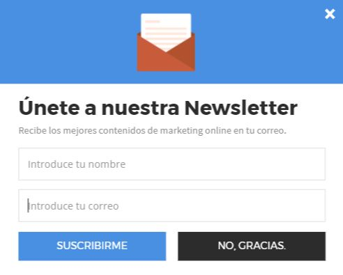 Crear campañas de email marketing pop up