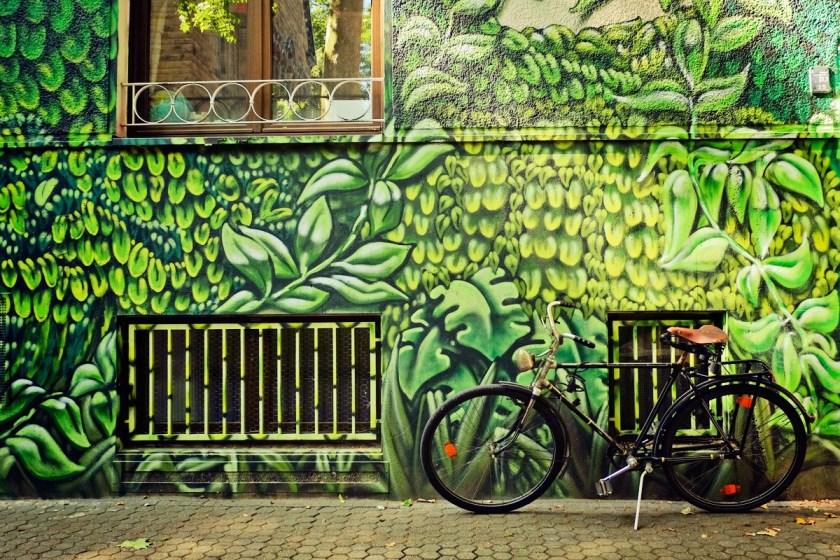 A wall mural in Belgisches Viertel (Belgian Quarter).