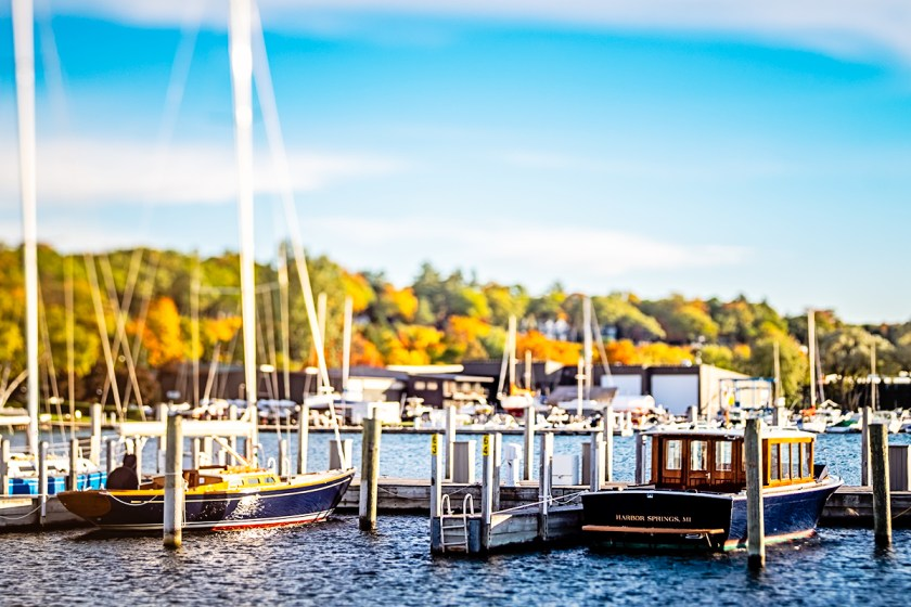 Boats in the harbor with fall colors.