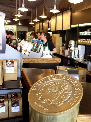 inside the first starbucks