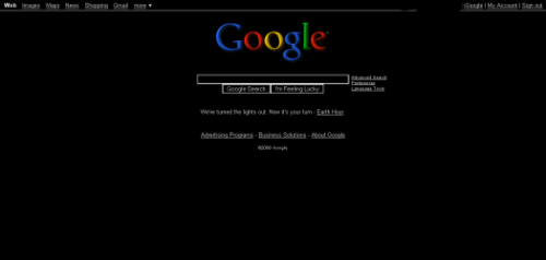 Black Google Homepage