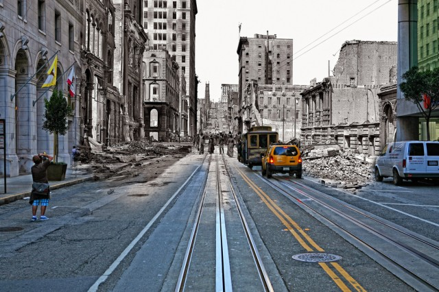 Composite Photographs of San Francisco From the 1906 Earthquake and Today