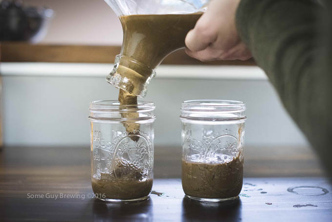 Harvest yeast cake into sanitized mason jars