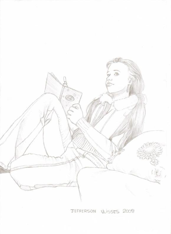 Mulher escrevendo - Desenhos à mão