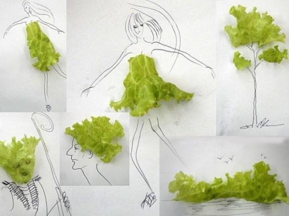 Desenhos com objetos do cotidiano - alface