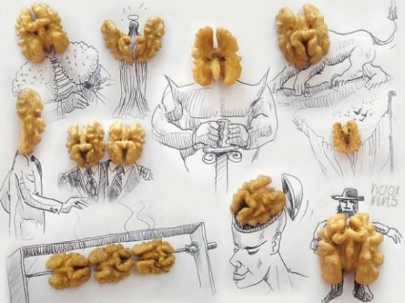 Desenhos com objetos do cotidiano - nozes