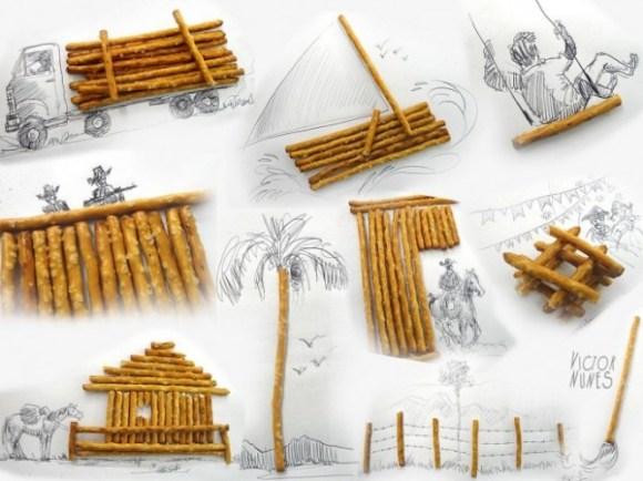Desenhos com objetos do cotidiano - palitinhos