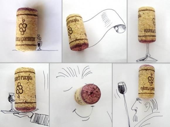 Desenhos com objetos do cotidiano - rolha
