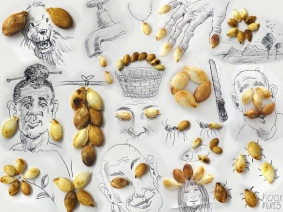 Desenhos com objetos do cotidiano - semente