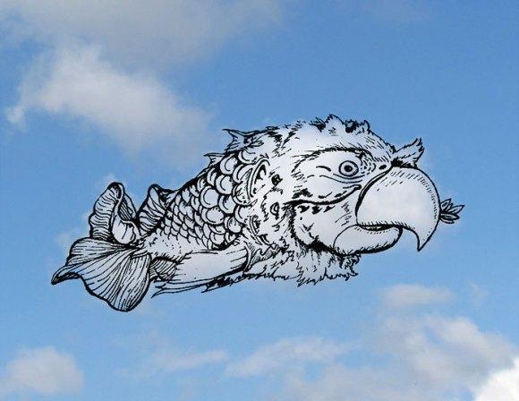 Desenho em nuvens - Papagaio-peixe (1)