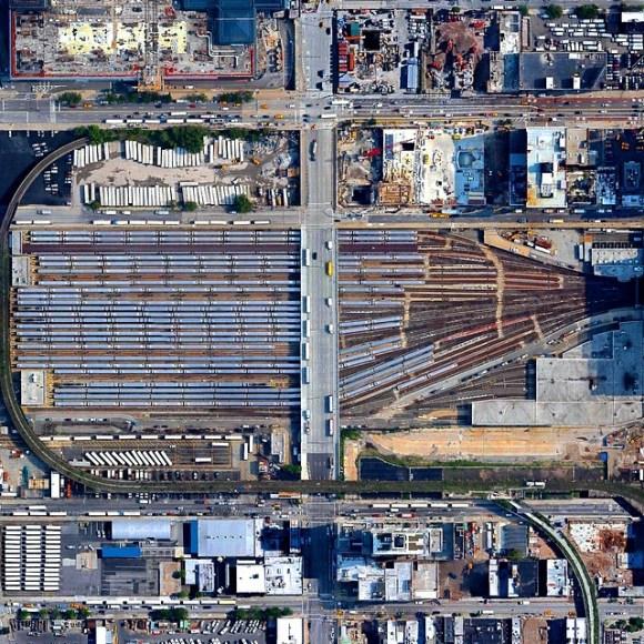 Pátio de trens da zona oeste de Nova Iorque - Fotos aéreas